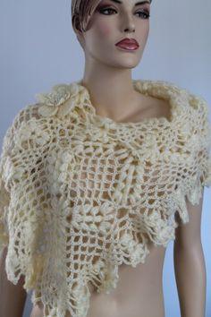 Cream Crochet  Lace Shawl Wrap Neck Warmer Holiday Accessories Fall Wedding. $98.00, via Etsy.