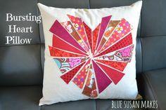 "Blue Susan makes: ""Bursting"" Heart Pillow"