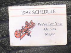 1982 Baltimore Orioles Schedule FIVE Signatures! Cool Piece
