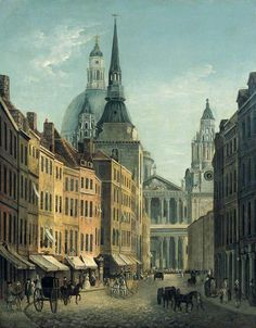 William Marlow — View of Ludgate Street from Ludgate Hill, with the West Front of St Paul's Cathedral, London : The Bank of England Museum, Victorian London, Vintage London, Old London, London Art, London Drawing, London Painting, London History, Tudor History, British History