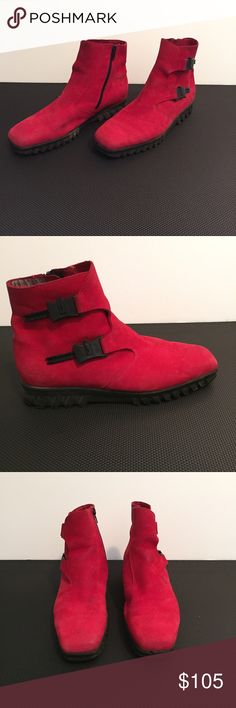 "Arche Ankle Boots Red Booties Suede Arche Red Booties Size 38 Red Suede with black zippers and decorative zipper clasps Worn very little but there is a flaw (See photos for black paint? mark on one boot) Shaft measures about 4"" tall Arche Shoes Ankle Boots & Booties"