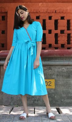 Your place to buy and sell all things handmade Frock Patterns, Clothing Patterns, Cotton Dresses, Blue Dresses, Silk Chiffon, Simple Dresses, Dress Collection, Frocks, Blouse Designs