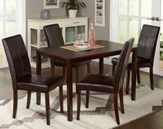 Dining Table Set For 4 Kitchen Nook Formal Room Sets 5 Piece Parsons Chairs Brwn #SimpleLiving #Transitional