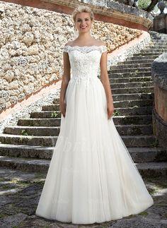 Bröllopsklänningar - $204.27 - A-linjeformat Off-shoulder Ringning Court släp Tyll Spetsar Bröllopsklänning (0025091368)
