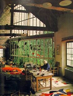 Alexander Calder, Calder's studio, Roxbury, Connecticut, US. #artist #studio #art #artwork #calder