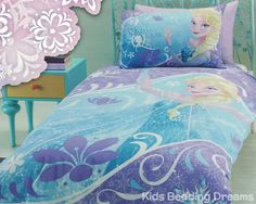 Elsa the Snow Queen Quilt Cover Set and more Disney Frozen bedding for girls available at Kids Bedding Dreams