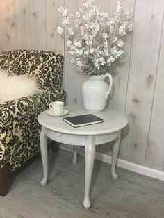 Side Table, End Table, Night Stand, Accent Table, Round, Vintage Painted Shabby Chic / Farmhouse / Cottage Style Table, French Provincial by SassafrasShoppeCo on Etsy https://www.etsy.com/listing/480773422/side-table-end-table-night-stand-accent