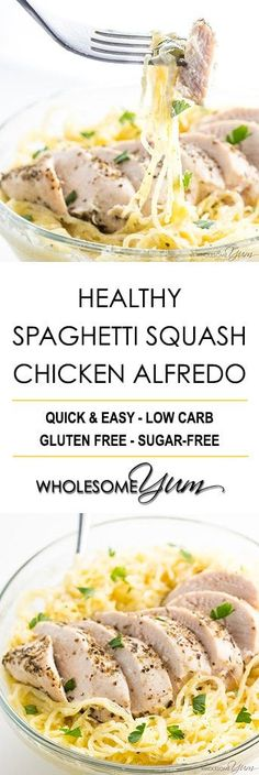 Healthy Chicken Alfredo Recipe with Spaghetti Squash - Learn how to make easy, healthy chicken Alfredo with spaghetti squash! This gluten-free, low carb spaghetti squash Alfredo recipe is creamy & delicious.