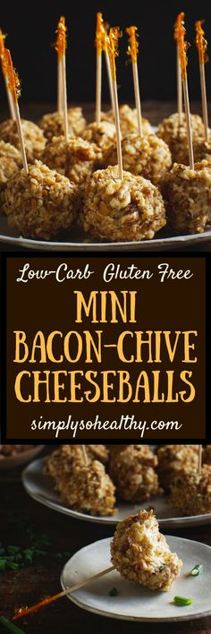 This recipe for Low-Carb Mini Bacon Chive Cheeseballs makes a delicious appetizer. These cheeseballs are bite-sized, so there is no need for crackers. They can be part of a low-carb, keto, diabetic, gluten-free, grain-free, LC/HF, or Banting diet.#lowcarb