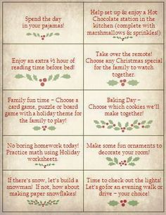 Kids enjoy the simple things!   Use some of these creative holiday ideas to make printable coupons as gifts for your kids.  We've also include a free printable sheet with some of our favorites too!