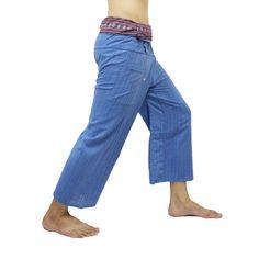 Blue Thai Fisherman Pants with Thai hand woven fabric on waist side, Wide Leg pants, Wrap pants, Unisex pants  $25.00 Free shipping