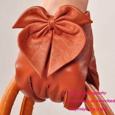 orange Women Genuine Leather Winter Warm soft lined HEART BOW LEATHER Gloves