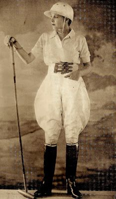 This is a Jodhpur trousers in 1930s. Today the most well-known of these design are Ralp Lauren. But Coco Chanel was the first person creat female jodhpurs for herself from a friend's groom's breeches. This kind of design originally were long pants, reaching to the ankle, snug from the calf to the ankle, suitable for riding horse, wear boot, playing polo