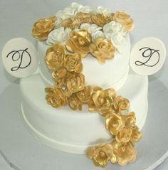 Golden Anniversary Roses 50th Wedding Cake