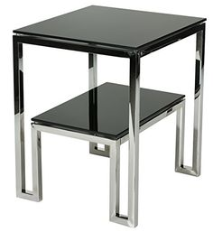 Cortesi Home Adina Contemporary Two Tier Black Glass End Table Iron Furniture, Buy Furniture Online, Simple Furniture, Steel Furniture, Cheap Furniture, Furniture Deals, Table Furniture, Furniture Design, Discount Furniture