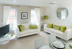 Barratt Homes - Goodwin Park (Kidderminster)  Lounge/Dining Room  #Lime green and white scheme