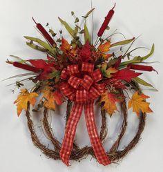 Pumpkin Wreath Fall Wreath Harvest Fall by CrookedTreeCreation