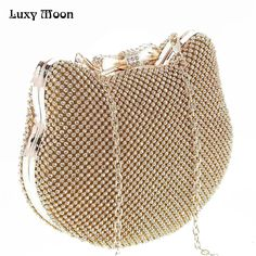 0570f110ad 2017 Top Fashion New Evening Bags Wholesale Women Cute Design Clutch Handbag  Gold Silver Diamond Party Handbags Chain Bag