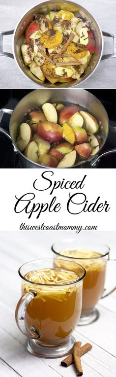 Homemade apple cider spiced with cinnamon, cloves, allspice, and ginger.