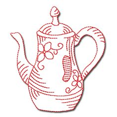- Redwork Teapots Collection