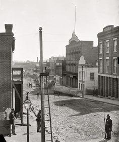 "1864. ""Atlanta, Georgia. View on Marietta Street."" Wet plate negative by George N. Barnard. LOC Civil War glass plate negative collection."