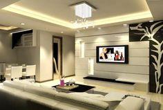 ensemble mural tv à LED - niches de rangement lumineuses et module en noir et blanc