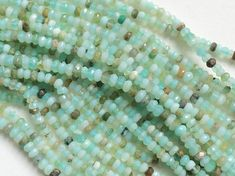 Aqua Sea Green Opal Faceted Rondelle Beads by gemsforjewels