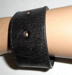 Distressed Black Leather Cuff Bracelet by honeyblossomstudio