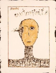Self Portrait. The vision of my talent, 1996, synthetic wax, pigments on fine shimmed paper 58x39 cm