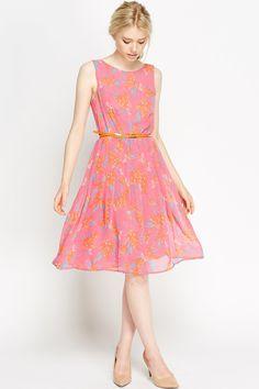 Floral Pink Flared Skater Dress -