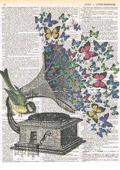 Butterflies.Bird.Music.Gramophone.Collage.Fantasy.Antique por studioflowerpower