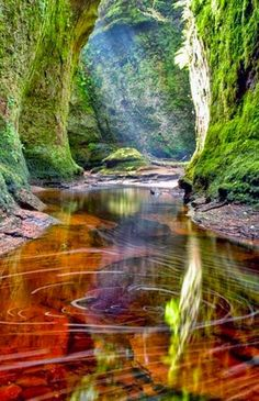 Finnich Glen, Loch Lomond, Scotland Loch Lomond is a freshwater Scottish loch which crosses the Highland Boundary Fault. Places Around The World, The Places Youll Go, Places To See, Around The Worlds, Agua Natural, Beautiful World, Beautiful Places, Loch Lomond Scotland, Landscape Photography