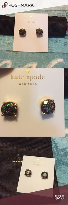 Kate Spade Gumdrop stud glitter earrings Adorable black and multicolored glitter gum drops studs. NWT. Comes with a Kate Spade pouch. kate spade Jewelry Earrings