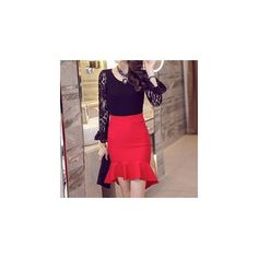 Ruffled Pencil Skirt ($15) ❤ liked on Polyvore featuring skirts, women, red ruffle skirt, frill skirt, flounce pencil skirt, ruffle pencil skirt and ruffle skirt