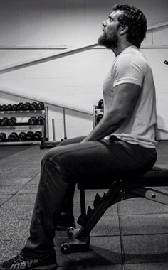 One of the Nine lifting weights.  Fever series, Karen Marie Moning.  Henry Cavill