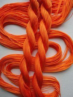 Orange hand thread tatting crochet