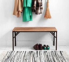 Reclaimed Wood & Metal Bench - Mid Century Modern, Industrial, Retro