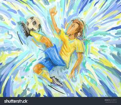 Abstract Soccer Player Painting Football Brazil Stock Illustration ...