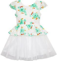 sunny fashion flower girl dress damask jacquard organza tulle wedding pageant size