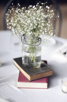 Just to remind me...I do love a simple baby's breath bouquet...especially in a humble ball glass jar.