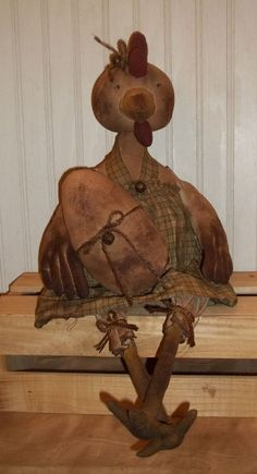 Primitive Super Grungy Mrs. Hensley Chicken Doll & Her Grubby Egg #NaivePrimitive