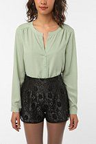 Sparkle & Fade Pleated Silky Blouse  #UrbanOutfitters