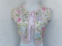 Nanette-Lepore-size-L-pink-sequined-floral-embroidered-bolero-crop-open-sweater