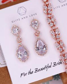 Rose Gold CZ Jewelry Set, earrings, bracelet, brides, wedding jewelry, bridal earrings, bridesmaids, www.glitzandlove.com