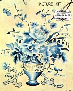 "VINTAGE ELSA WILLIAMS ""GAINSBOROUGH BLUE/WHITE FLORAL"" CREWEL EMBROIDERY KIT #ElsaWilliams"