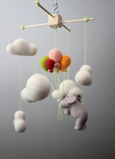 Up, Up and Away Elephant in the Clouds Needle Felted Baby Nursery Mobile: