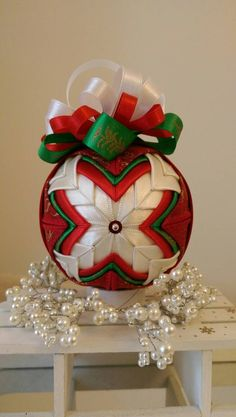Items similar to Elegant Christmas ornament/Quilted bauble, red, white and green/no sew, quilted ornament on Etsy Quilted Christmas Ornaments, Fabric Ornaments, Christmas Baskets, Christmas Balls, Christmas Tree Decorations, Christmas Crafts, Christmas Scenes, Christmas Colors, Elegant Christmas