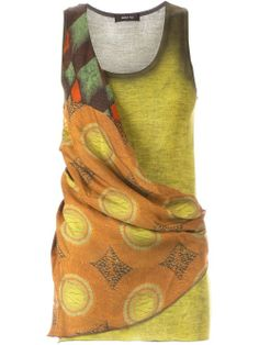 Green and multicoloured silk and cashmere printed wrap tank top from Avant Toi