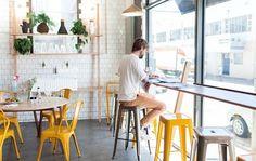 Tolix Bar Chair - Yellow and Grey - Restaurant -Diiiz