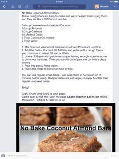 No Bake Coconut Almond Bars